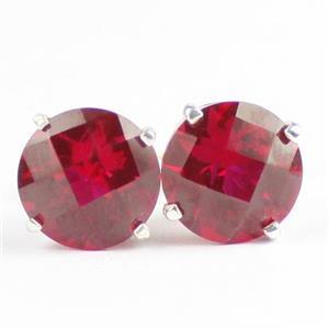 Created Ruby, 925 Sterling Silver Post Earrings, SE112