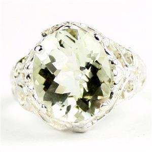 Green Amethyst,  925 Sterling Silver Ladies Ring, SR114