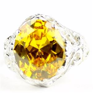 Golden Yellow CZ, 925 Sterling Silver Ladies Ring, SR114