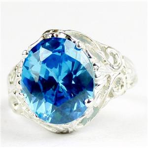 Swiss Blue CZ, 925 Sterling Silver Ladies Ring, SR114