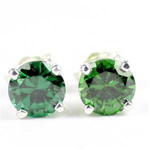 Russian Nanocystal Emerald,  925 Sterling Silver Post Earrings, SE012