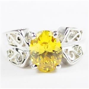 Golden Yellow CZ, 925 Sterling Silver Ladies Ring , SR281