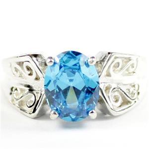 Swiss Blue CZ, 925 Sterling Silver Ladies Ring, SR281