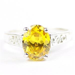 Golden Yellow CZ, 925 Sterling Silver Ladies Ring, SR366