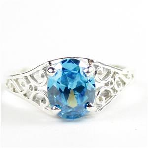 Swiss Blue CZ, 925 Sterling Silver Ladies Ring, SR005