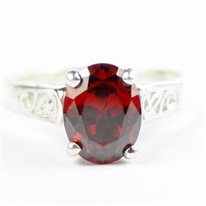 Garnet CZ, Ladies Sterling Silver Ring, SR366