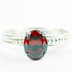 Garnet CZ, 925 Sterling Silver Ladies Ring, SR371