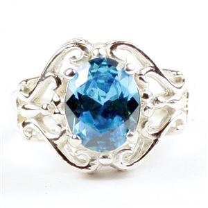 Swiss Blue CZ, 925 Sterling Silver Ladies Ring, SR169