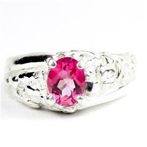 Created Pink Sapphire, 925 Sterling Silver Men's Nugget Ring, SR368