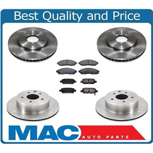 Front & Rear Brake Disc Rotors With Ceramic Pads for 2011-2015 Nissan Leaf 6Pc