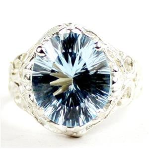 Concave Cut Swiss Blue Topaz, 925 Sterling Silver Ladies Ring, SR114
