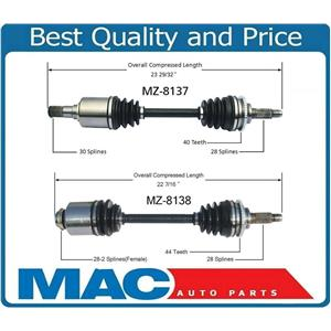 (2) 100% New For 03-04 Mazda 6 3.0 W Automatic Trans 2 Front Cv Axle Shafts NEW