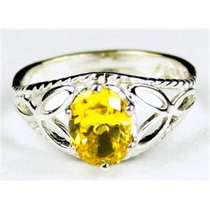 Golden Yellow CZ, 925 Sterling Silver Ladies Ring, SR137