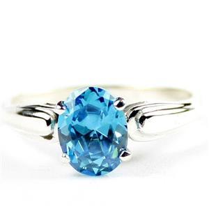 Swiss Blue CZ, 925 Sterling Silver Ladies Ring, SR058