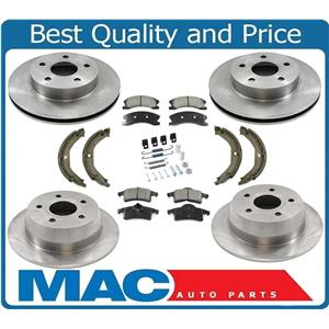 New Front Rear Rotors Brake Pads Shoes Spring Kit for Jeep Grand Cherokee 03-04