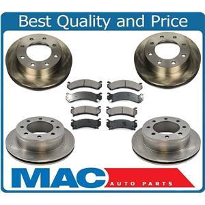 Front & Rear Brake Rotors & Ceramic Pads Fits 99-04 Silverado 2500 00-13 XL 2500