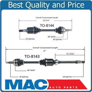 (2) 100% New CV Axle Shaft Front For 97-01 Camry V6 Manual Transmission 8143 44