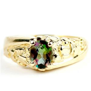 Mystic Fire Topaz, Men's Gold Nugget Ring, R368