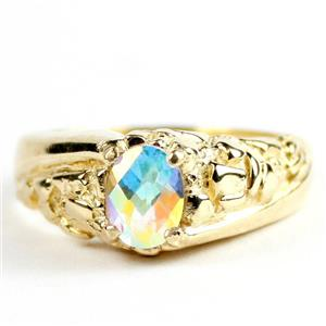 Mercury Mist Topaz, Men's Gold Nugget Ring, R368