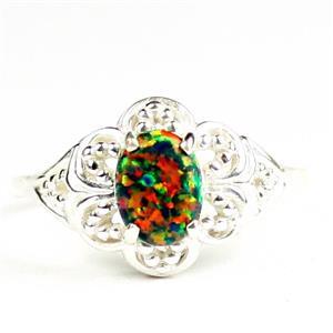 Created Black Opal, 925 Sterling Silver Ladies Ring, SR125
