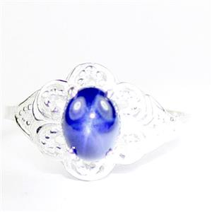Created Blue Star Sapphire, 925 Sterling Silver Ladies Ring, SR125