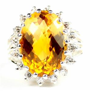 Citrine,  925 Sterling Silver Ladies Royal Engagement Ring, SR270