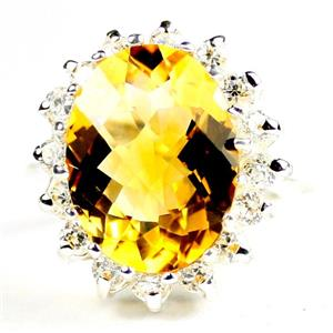 Citrine,  925 Sterling Silver Ladies Royal Engagement Ring, SR310