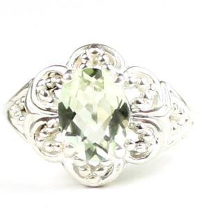 Green Amethyst (Prasiolite), 925 Sterling Silver Ladies Ring, SR125