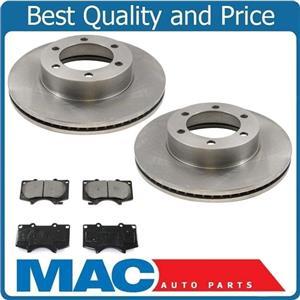 for 04-06 Tundra 04-07 Sequoia (2) Front Brake Rotors & Ceramic Pads 3pc Kit