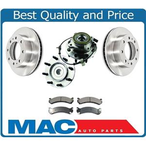 Front Hub & Bearings Brake Disc Rotors Ceramic Pads for 08-09 Hummer H2