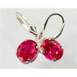 SE107, Created Ruby, 925 Sterling Silver Earrings