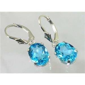 SE107, Swiss Blue Topaz, 925 Sterling Silver Earrings