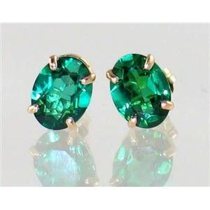 E002, Russian Nanocrystal Emerald, 14k Gold Earrings
