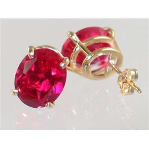 E102, Created Ruby, 14k Gold Earrings
