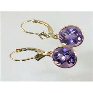 E101, Amethyst, 14k Gold Earrings