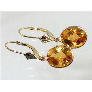 E101, Citrine, 14k Gold Earrings