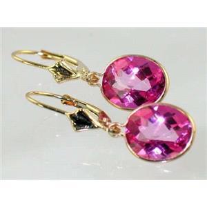 E101, Pure Pink Topaz, 14k Gold Earrings