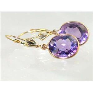 E201, Amethyst, 14k Gold Earrings