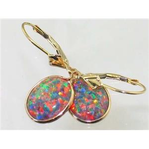 E201, Created Red/Brown Opal, 14k Gold Earrings