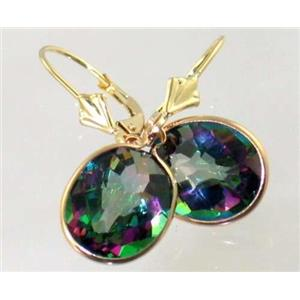 E201, Mystic Fire Topaz, 14k Gold Earrings