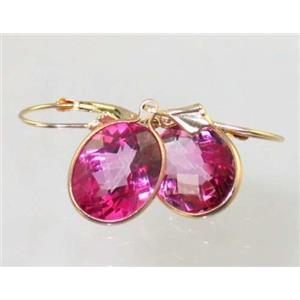 E201, Pure Pink Topaz, 14k Gold Earrings
