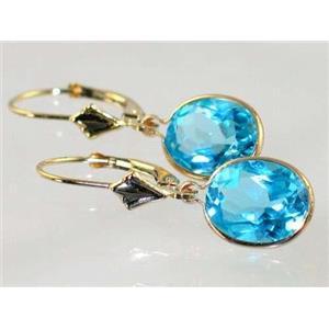 E101, Swiss Blue Topaz, 14k Gold Earrings