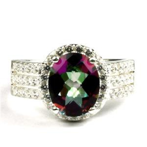Mystic Fire Topaz, 925 Sterling Silver Ladies Halo Ring, SR400