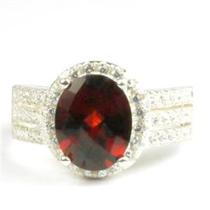 Mozambique Garnet, 925 Sterling Silver Ladies Halo Ring, SR400