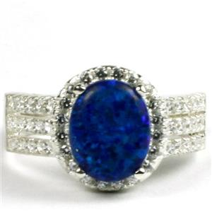 Created Blue Green Opal, 925 Sterling Silver Ladies Halo Ring, SR400