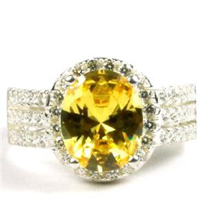 Golden Yellow CZ, 925 Sterling Silver Ladies Halo Ring, SR400