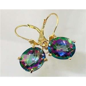 E207, Mystic Fire Topaz, 14k Gold Earrings