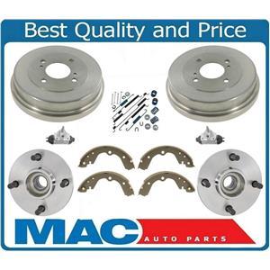 Rear Wheel Hub Bearings Brake Drums 8 Pcs Kit For Nissan Altima 93-98 W/O ABS