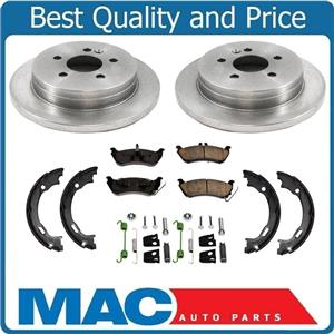For 98-03 ML320 Mercedes (2) Rr Brake Rotors & Pads & Parking Shoes Springs 5pc