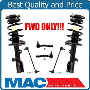 Front Strut & Coil Spring & 2 Tie Rods 2 Sway Bar New For Toyota Corolla 03-08
